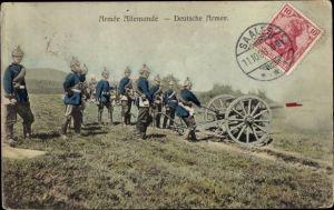 Ak Armée Allemande, Deutsche Armee, Soldaten mit Geschütz