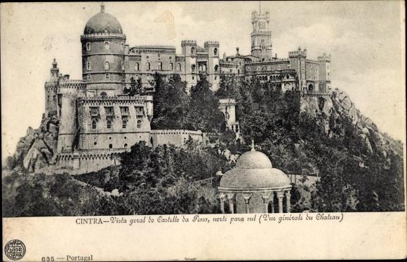 Ak Cintra Sintra Portugal, Vista geral do Castello da Pena