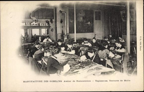 Ak Manufacture des Gobelins, Atelier de Restauration, Tapisseries, Tentures de Malte