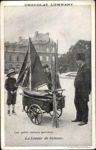 Ak Paris, Le Louer de bateaux, Modellsegelschiff
