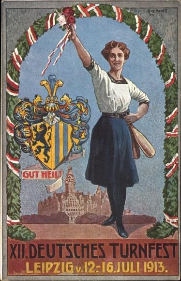 Künstler Ak Leipzig in Sachsen, XII. Deutsches Turnfest, 12-16. Juli 1913, Gut Heil, Wappen