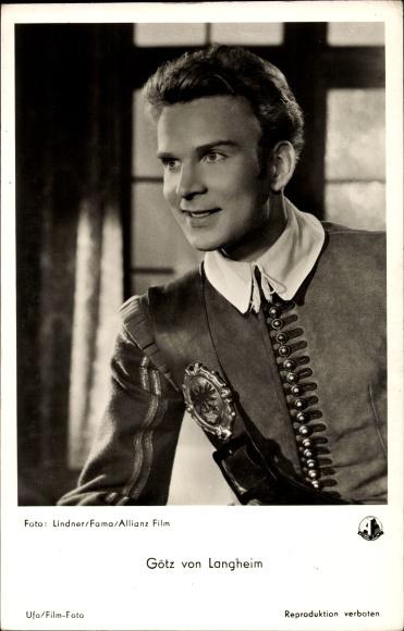 Ak Schauspieler Götz von Langheim, Portrait, Ufa Film, Der Cornet