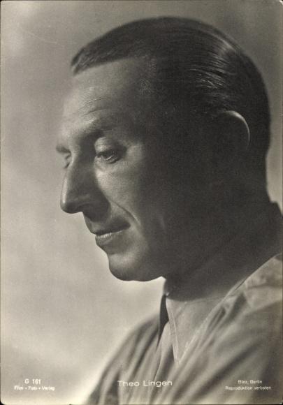 Ak Schauspieler Theo Lingen, Portrait, Profil, Film Foto Verlag G 161