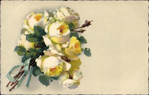 Künstler Ak Klein, Catharina, Blumenstillleben mit gelben Rosenblüten, Meissner Buch 2343