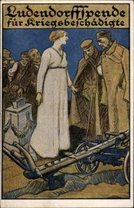 Künstler Ak Ludendorffspende für Kriegsbeschädigte, verwundete Soldaten, Spendenkasse