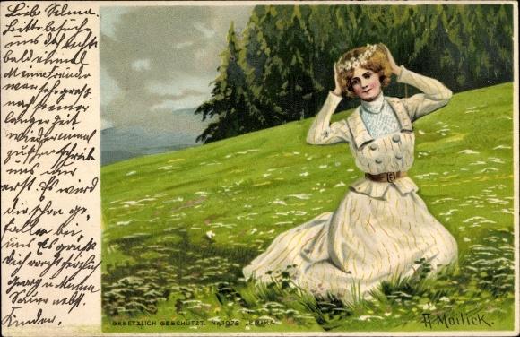 Künstler Litho Mailick, A., Frau mit Blumenkranz im Haar sitzt im Gras