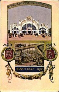 Künstler Ak Düsseldorf am Rhein, Portal der Maschinenhalle, Wappen, Ausstellung 1902