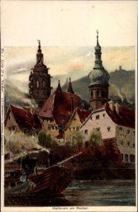 Künstler Litho Biese, C, Heilbronn Baden Württemberg, Teilansicht vom Ort, Glockentürme, Bootspartie