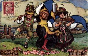 Künstler Ak Oktoberfest München, Kindl, Bierkrug, Mann und Frau in bayerischen Trachten
