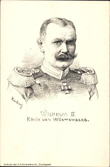 Künstler Ak Wilhelm II, König von Württemberg, Portrait, Uniform