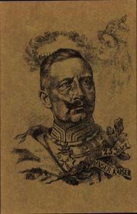 Künstler Ak Kaiser Wilhelm II. von Preußen, 25jähriges Jubiläum