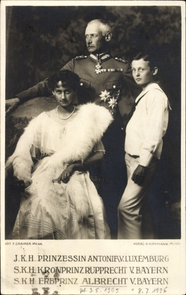 Ak Prinzessin Antonia von Luxemburg, Kronprinz Rupprecht von Bayern, Erbprinz Albrecht