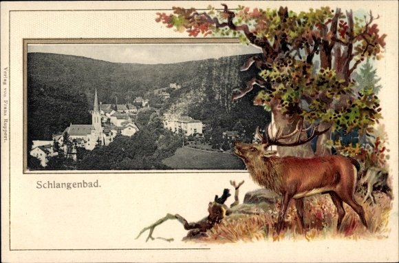 Präge Passepartout Ak Schlangenbad im Rheingau Taunus Kreis, Blick auf den Ort mit Umgebung, Hirsch