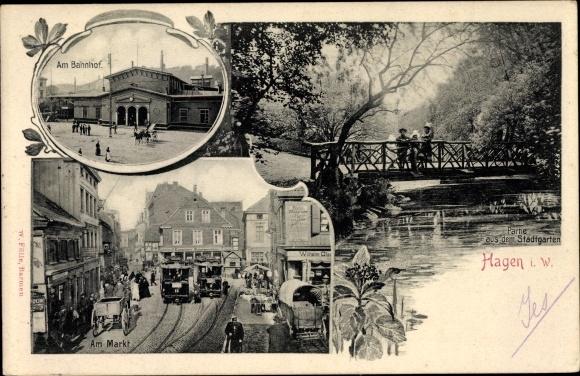 Passepartout Ak Hagen in Westfalen Ruhrgebiet, Partie am Bahnhof, Stadtgarten, Am Markt, Straßenbahn