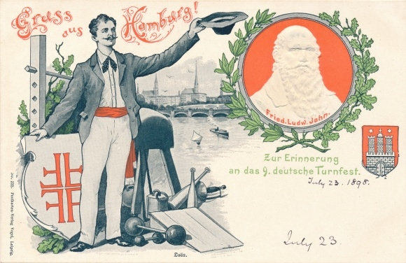 Präge Ak Hamburg, 9. Deutsches Turnfest 1898, Turnvater Jahn, Turner