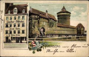 Ak Nürnberg in Mittelfranken Bayern, Gasthof Pillhofer, Inh. Josef Seitz, Frauentor, Burg