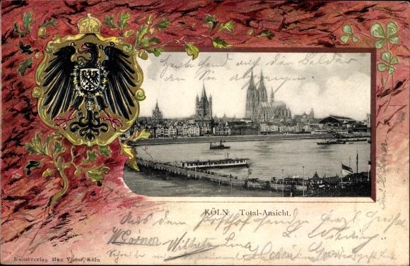 Präge Wappen Passepartout Ak Köln am Rhein, Totalansicht der Stadt, Kleeblätter
