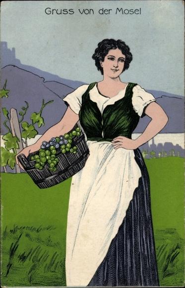Künstler Ak Gruß von der Mosel, junge Frau mit Korb voller Weintrauben