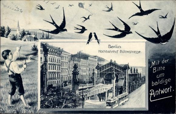 Passepartout Ak Berlin Schöneberg, Hochbahnhof Bülowstraße, Straßenbahn, Junge m. Drachen, Schwalben