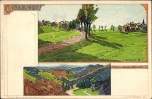 Künstler Ak Stagura, Albert, Oberhof im Thüringer Wald, Blick auf Ortschaft und Umgebung