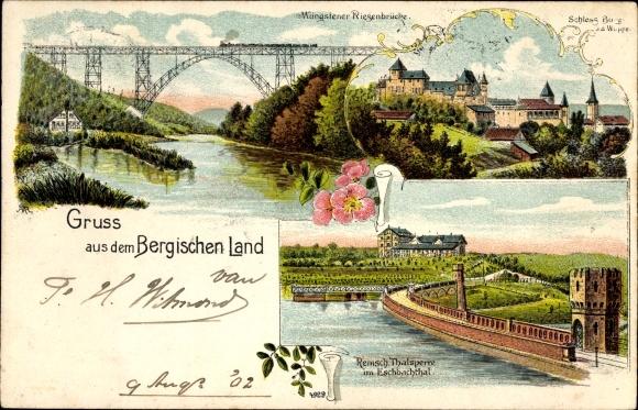 Litho Solingen in Nordrhein Westfalen, Müngstener Riesenbrücke, Schloss Burg, Talsperre