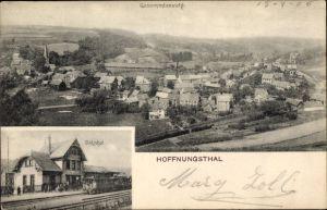 Ak Hoffnungsthal Rösrath im Rheinisch Bergischen Kreis, Bahnhof, Gesamtansicht