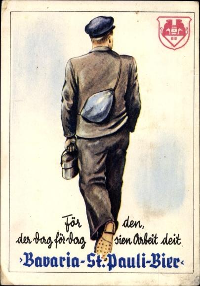 Künstler Ak Bavaria St. Pauli Bier, Hamburg, Reklame