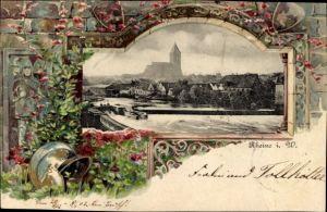 Präge Passepartout Ak Rheine in Nordrhein Westfalen, Flusspartie mit Wehr, Kirche, Wohnhäuser