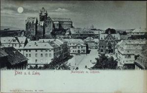 Mondschein Ak Diez im Rhein Lahn Kreis Rheinland Pfalz, Blick auf den Marktplatz mit Schloss, Mond