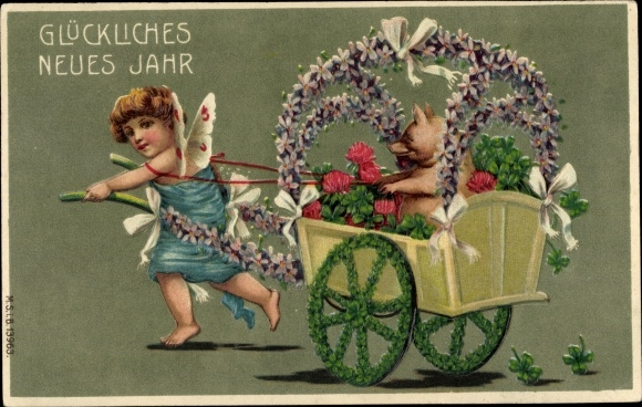 Präge Ak Glückwunsch Neujahr, Engel zieht einen Karren, Schwein, Kleeblätter