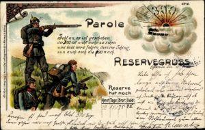 Litho Parole 300, Reservegruß, Reservisten