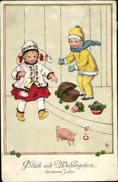 Künstler Ak Glückwunsch Neujahr, Kinder, Glücksschwein, Kleeblätter