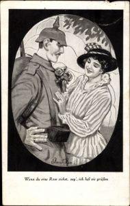 Künstler Ak Soldat mit junger Frau, Wenn du eine Rose siehst