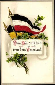 Litho Dem Bündnis treu und treu dem Vaterland, Fahnen Deutschland und Oesterreich