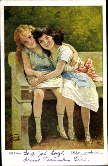 Künstler Ak Fisher, Bill, Dicke Freundschaft, Mädchen auf einer Bank