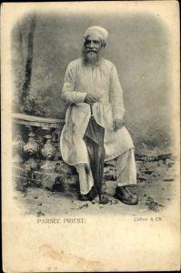 Ak Indien, Parsee Priest, Indischer Priester