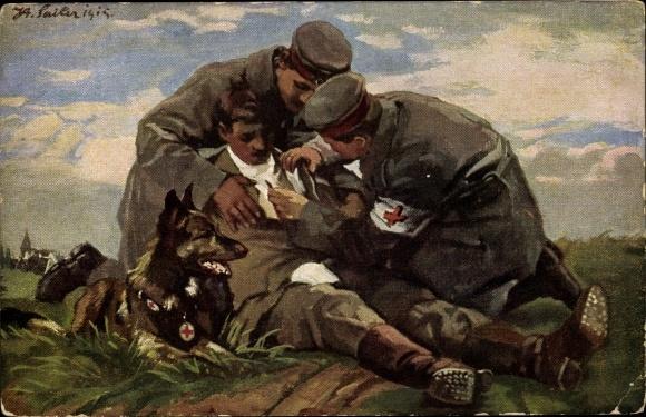 Künstler Ak Verwundeter Soldat, Rotes Kreuz, Sanitätshund