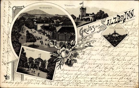 Litho Szczawno Zdrój Bad Salzbrunn Schlesien, Neue Elisenhalle, Wilhelmshöhe, Louisenhof