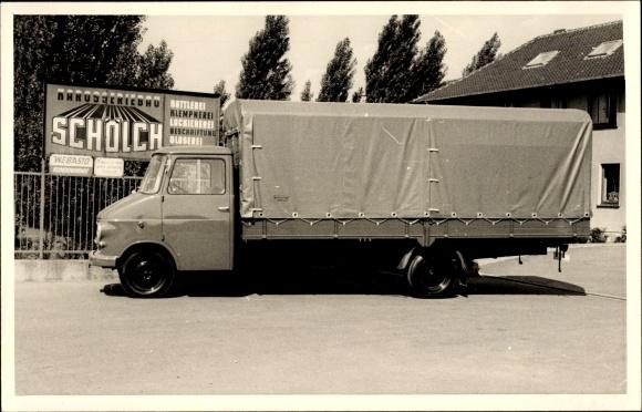 Foto Ak Karosseriebau Schölch, LKW mit abgedeckter Ladefläche