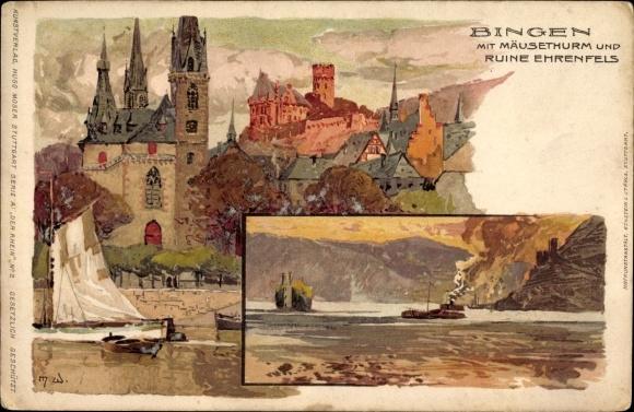 Künstler Litho Wielandt, Manuel, Bingen am Rhein, Teilansicht vom Ort mit Mäuseturm, Ruine Ehrenfels