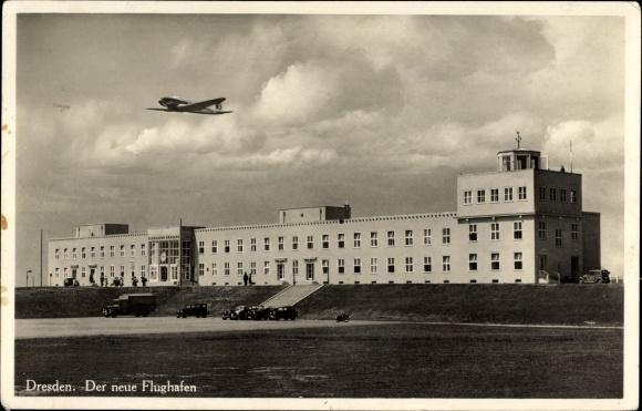 Ak Dresden Nord Klotzsche, Blick auf den neuen Flughafen, Flugzeug