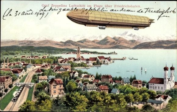 Künstler Ak Felle, Eugen, Friedrichshafen am Bodensee, Graf Zeppelins Luftschiff über der Stadt