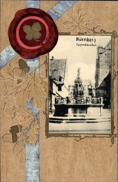 Präge Passepartout Ak Nürnberg in Bayern, Blick auf den Tugendbrunnen, Eicheln, Kleeblatt