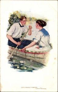 Künstler Ak Underwood, Clarence, Lets paddle forever, Liebespaar im Ruderboot