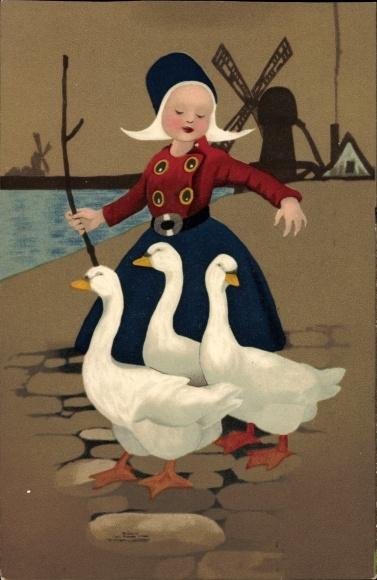 Künstler Ak Mädchen in niederländischer Tracht mit Gänsen, Windmühle, Meissner und Buch 1801