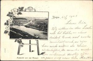 Passepartout Ak Bingen am Rhein, Aussicht von der Rossel mit Blick auf den Ort mit Umgebung