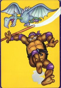 Künstler Ak Comic, Teenage Mutant Ninja Turtles, Drache, Schildkröte mit Kampfstab