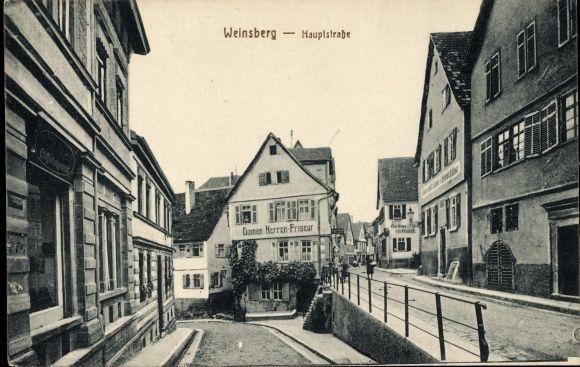 Ak Weinsberg im Kreis Heilbronn, Blick in die Hauptstraße, Damen und Herren Friseur