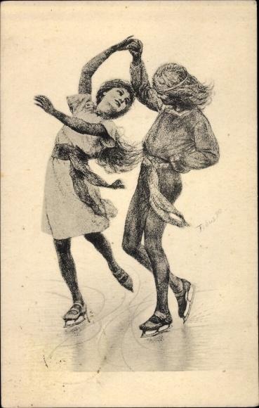 Künstler Ak Fidus, Schlittschuhläufer