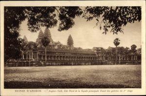 Ak Kambodscha, Angkor Wat, Aile Nord de la facade principale Ouest des galeries du 1er etage